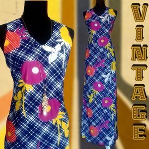 1960s/70s floral mod maxi dress